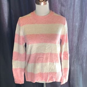 GAP Pink and Off White Stripe Sweater